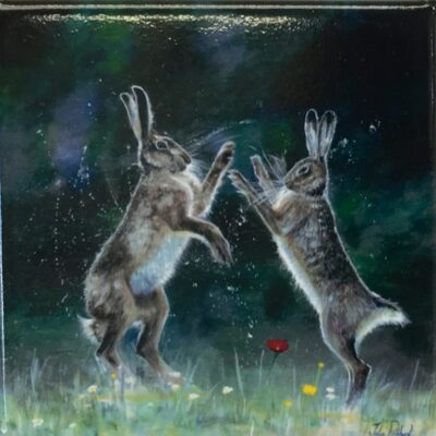 Boxing Hares Animal Art Gift Magnet Pankhurst Cards and Gifts