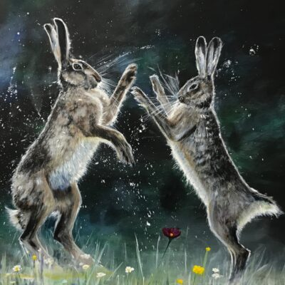 Boxing Hares Animal Art Pankhurst Cards and Gifts