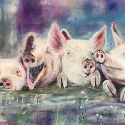 Happy Hogs Pig Animal Art Pankhurst Cards and Gifts