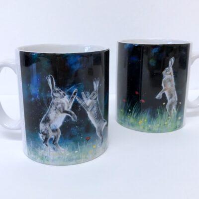 Boxing Hares Lone Hare Mug Animal Art Gift Pankhurst Cards and Gifts