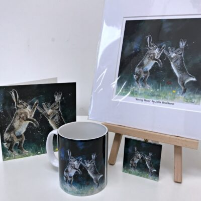 Boxing Hares Animal Art Gift Collection Pankhurst Cards and Gifts