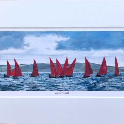 Scarlet Sails Seascape Yachts Sailing Art Print Gift Pankhurst Cards and Gifts