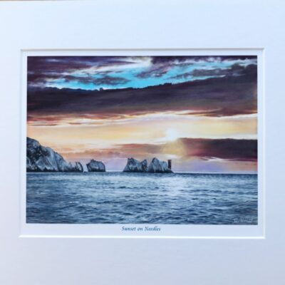 Sunset on Needles Isle of Wight Seascape Art Print Gift Pankhurst Cards and Gifts