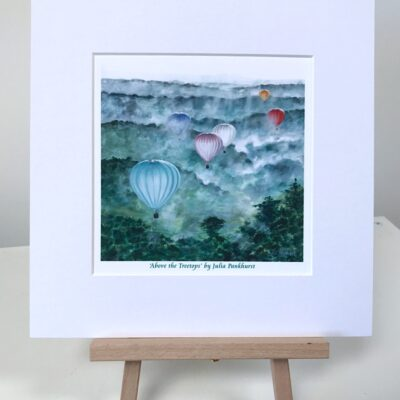 Above the Treetops Landscape Hot Air Ballooning Art Gift Print Pankhurst Cards and Gifts