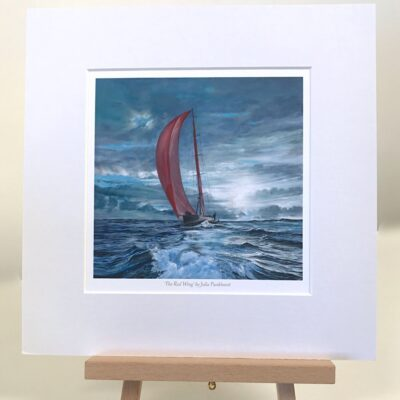The Red Wing Yacht Boat Sailing Seascape Art Print Gift Pankhurst Cards and Gifts