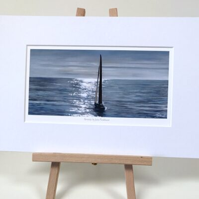 Serenity Yacht Boat Sailing Seascape Art Print Gift Pankhurst Cards and Gifts