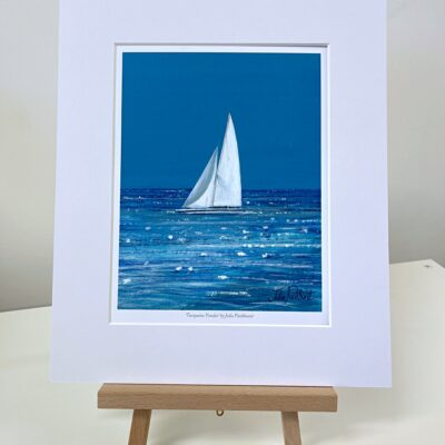 Turquoise Yonder White Yacht Boat Sailing Seascape Art Print Gift Pankhurst Cards and Gifts