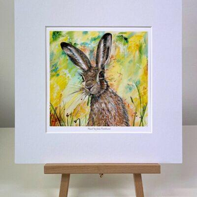 Hazel hare mini print gift art Pankhurst Cards and Gifts