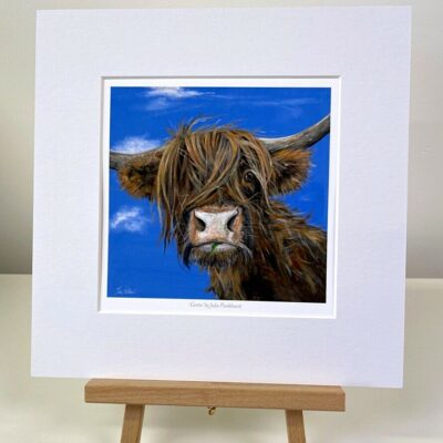 Gertie highland cow mini print gift art Pankhurst Cards and Gifts