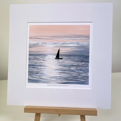 Homeward Bound yacht sailing seascape mini art print gift Pankhurst Cards and Gifts