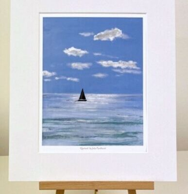 Quietude yacht sailing seascape mini print art gift Pankhurst Cards and Gifts