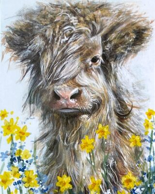 Charlie Highland Cow Art Greetings Card Gift Pankhurst Cards and Gifts