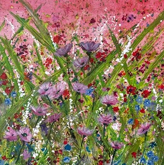 Flower Power colourful vibrant flower landscape Art Greetings Card Gift Pankhurst Cards and Gifts
