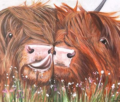Highland Fling Highland Cow Art Greetings Card Gift Pankhurst Cards and Gifts