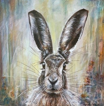 Hughie Hare Animal Art Greetings Card Gift Pankhurst Cards and Gifts