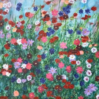 Les Fleurs card colourful flowers Pankhurst Cards and Gifts