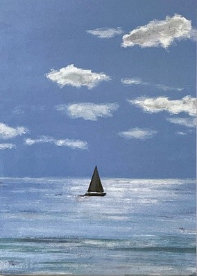 Quietude seascape yacht Art Greetings Card Gift Pankhurst Cards and Gifts
