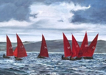 Scarlet Sails seascape yacht Art Greetings Card Gift Pankhurst Cards and Gifts