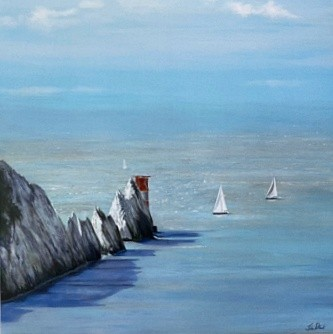 Sailing Around the Needles yacht seascape Art Greetings Card Gift Pankhurst Cards and Gifts