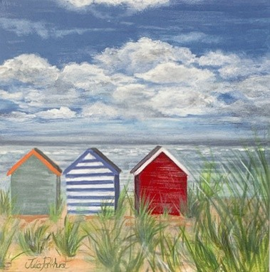 Secret Getaway Beach Huts Art Greetings Card Gift Pankhurst Cards and Gifts