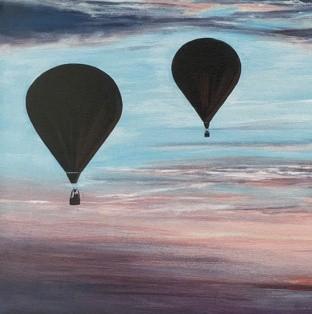 Skyward Hot Air Balloon Art Greetings Card Gift Pankhurst Cards and Gifts