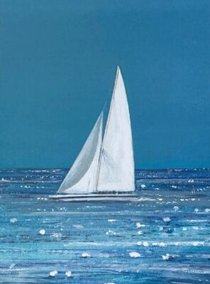 Turquoise Yonder yachting sailing seascape Art Greetings Card Gift Pankhurst Cards and Gifts
