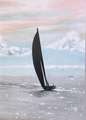Warm Breeze Sailing Yacht seascape card Pankhurst Cards & Gifts