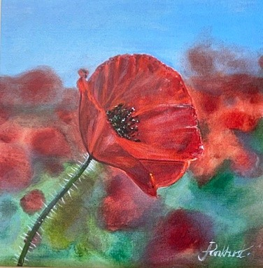 We Remember red poppy remembrance flower landscape Art Greetings Card Gift Pankhurst Cards and Gifts