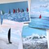 Pankhurst Cards and Gifts Warm Breeze Seascape yachts waves art greetings cards
